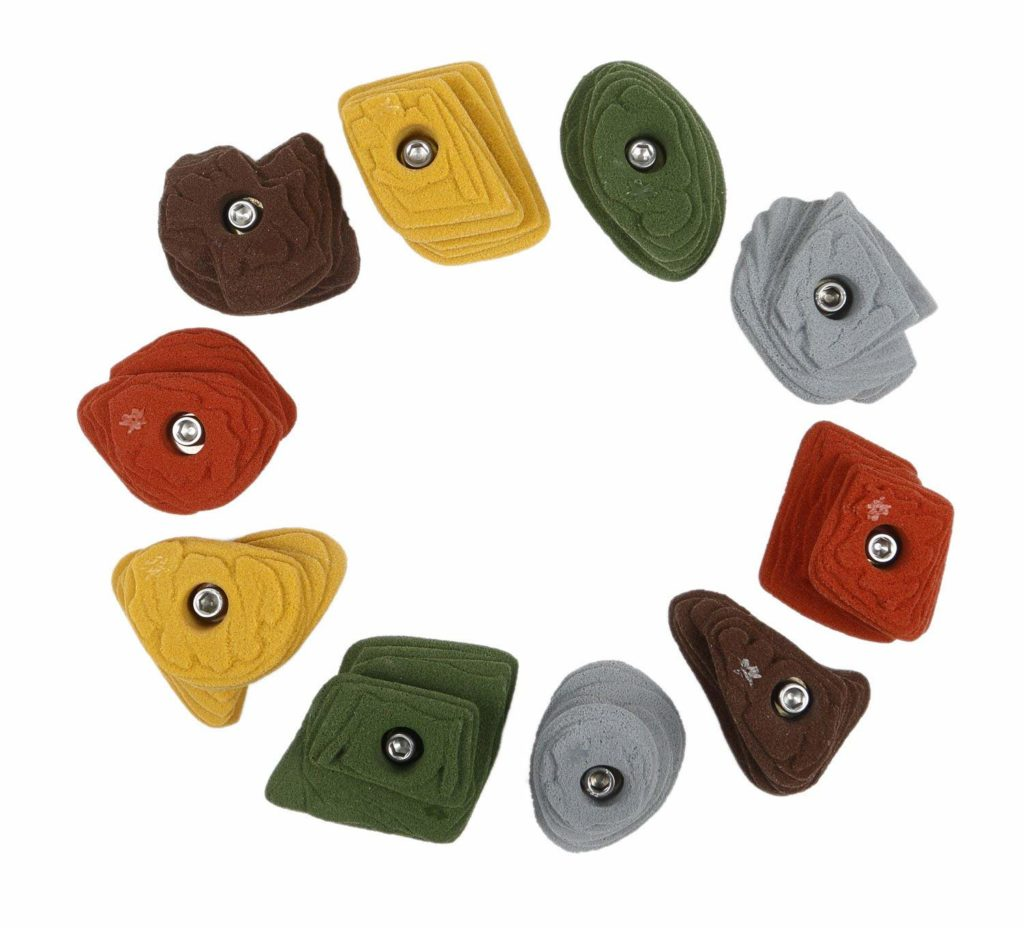 Crimps, idoor climbing holds used for bouldering