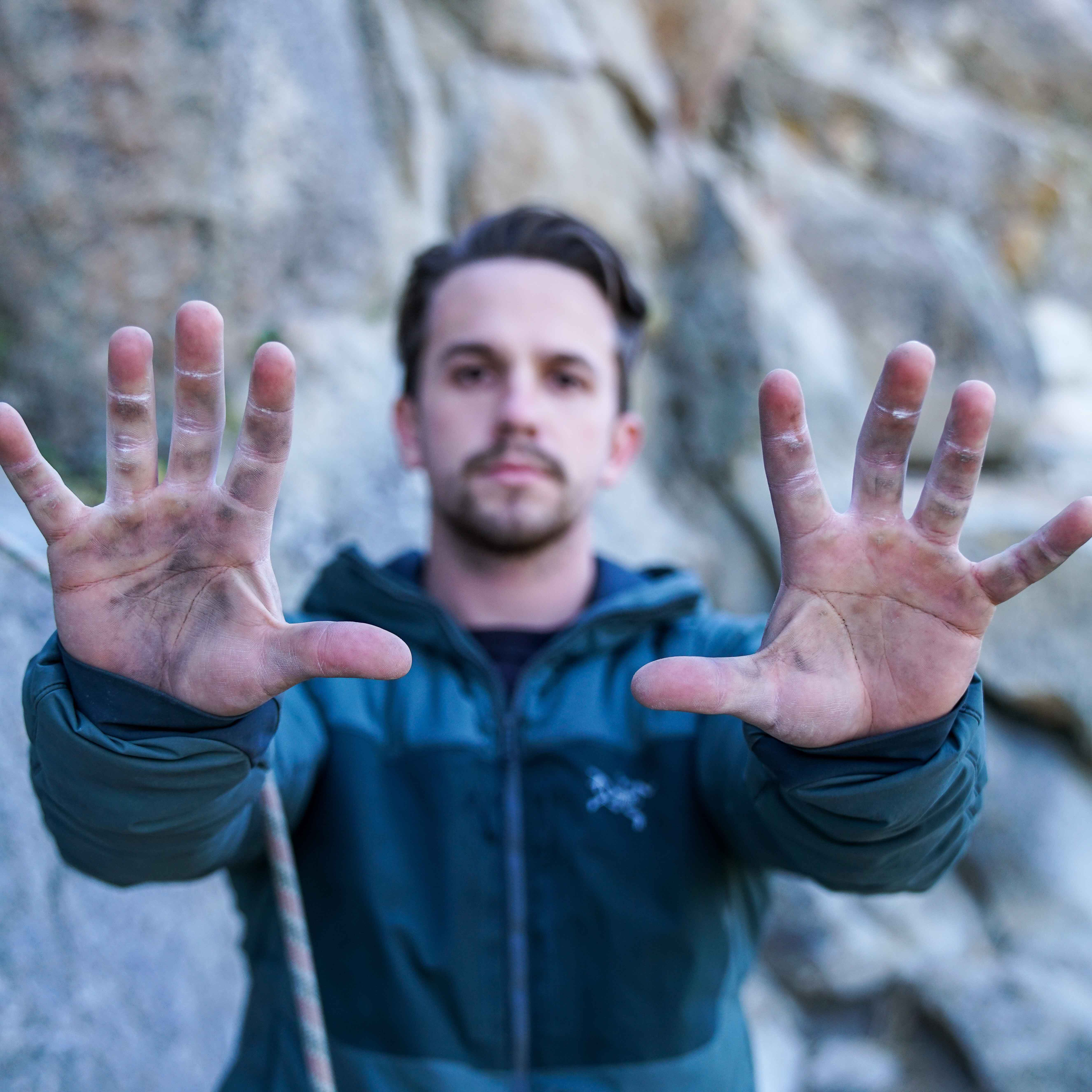 Climber showing his hands