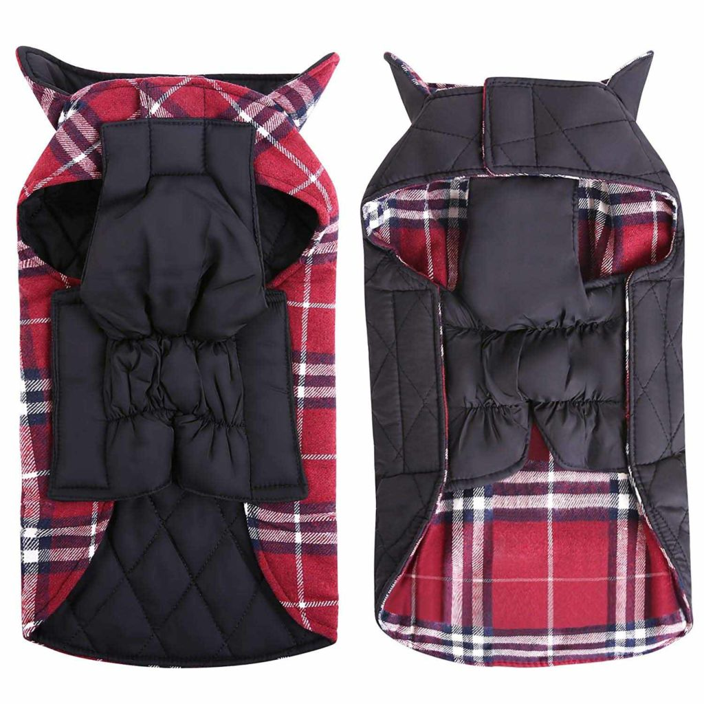 MIGOHI Dog Jackets for Winter Windproof Waterproof Reversible Dog Coat for Cold Weather British Style Plaid Warm Dog Vest for Small