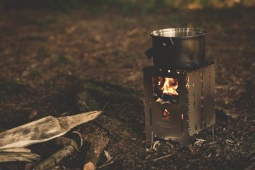 Cooking pot on a camping fire