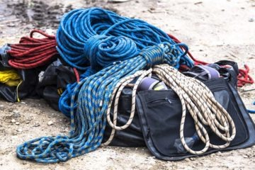 Climbing rope with markings on it some of the ropes have taping